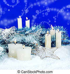 Christmas Festive Background with Candles