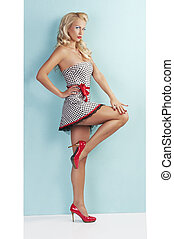 sensual full body pin up with a red belt - pinup style full...
