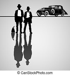 Retro businessmen with retro car. Vector illustration