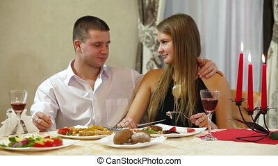 Lovely Dinner - Romantic couple having dinner