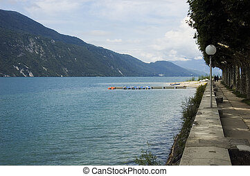 Lake Bourget and walk way of Aix-les-bains - View of Lake...