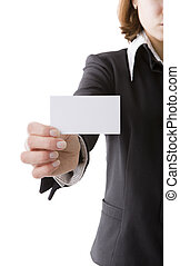 Girl with business card