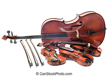 violins and cello - beautiful violins isolated on a white...