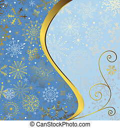 Christmas blue frame with gold wave line and snowflakes...
