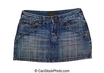 Jeans Skirt - blue denim short skirt isolated on white...