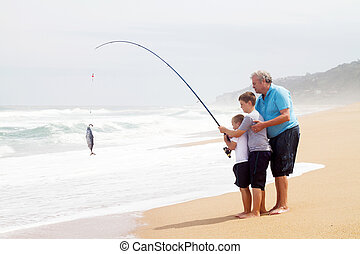 grandpa and two grandsons fishing - grandpa and two...