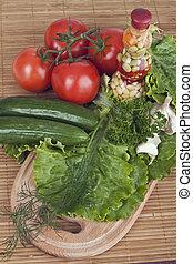 fresh vegetables on the kitchen blackboard
