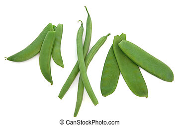 Peas, Beans and Mangetout - Pea vegetables in pods with...
