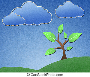 Tree and blue sky recycled paper craft