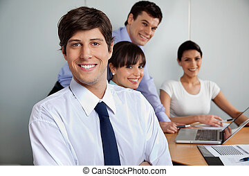 Handsome Businessman Smiling - Portrait of handsome...