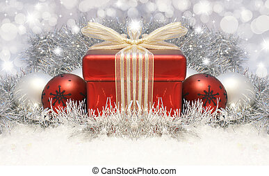 Christmas gift background - Christmas gift and baubles...