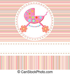 Stroller of flowers for baby girls vector