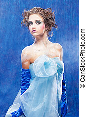 Beautiful snow queen - fantasy portrait of beautiful young...