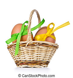 basket with easter eggs