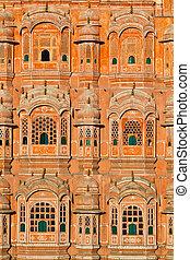 Hawa Mahal, the Palace of Winds, Jaipur, Rajasthan, India. -...