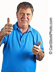 portrait of smart gesturing man