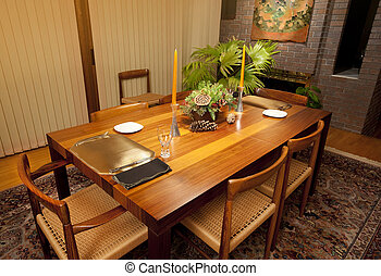 Dining room table - Modern dining room table in rich woods...