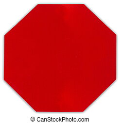 Blank stop sign on white background