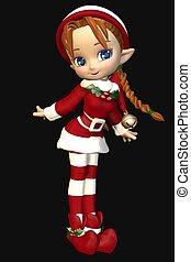 Santas Helper, Cute Toon Xmas Elf - Cute toon christmas elf...