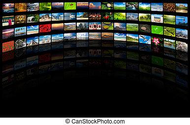Extracto, multimedia, Plano de fondo, compuesto, Muchos,...