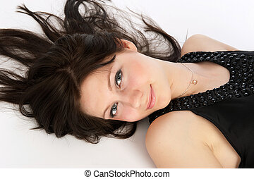 Portrait of a charming young teenagers girl smiling -...