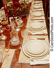 Place Settings of China and Crystal - A formal dining table...