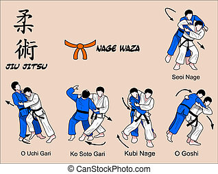 Jiu, Jitsu, Nage, Waza, 2, couleur