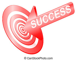 Targetting success. - Illustrated success concept depicting...