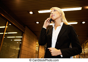 Business Visitation - Young businesswoman using mobile phone...