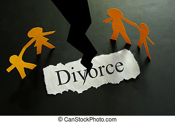 torn piece of paper with divorce text and paper family...