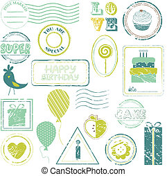 Birthday Vector Stamp Set IN COLOR - look for more in my...