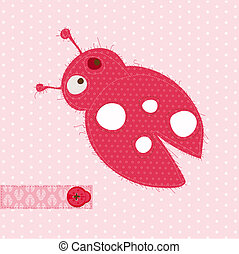 Greeting card with Ladybug - for scrapbook, invitation, celebration with place for your text