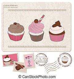 Set of cupcakes on old postcard, with stamps - for design and scrapbooking