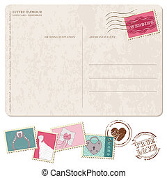 Retro Wedding Invitation postcard, with stamps - for design and scrapbook