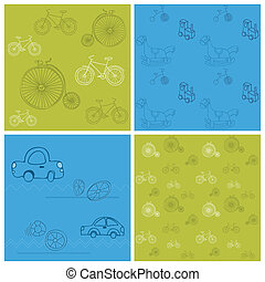 Set of Seamless backgrounds with Bikes and Cars - for design...