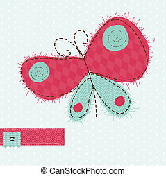 Greeting card with Butterfly - for scrapbook, invitation, celebration with place for your text