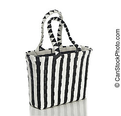 womans handbag black and white isolated with reflection