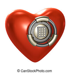 Heart as a vault isolated on white - Protection: Heart as a...