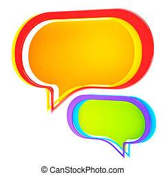 Chatting: colorful text bubble isol