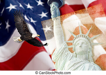 Statue of Liberty in New York City with eagle,constitution...