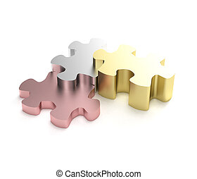Success: puzzle pieces as a staircase of the progress