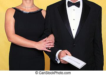 negro, corbata, tarde, Vestido, invitación