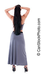 Woman in evening dress view from back - Woman in evening...