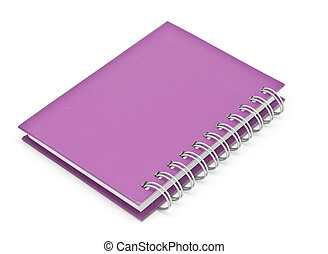 stack of ring binder book or pink notebook isolated on white...