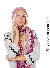 pretty girl - teenage girl sad think looking up wear warm...