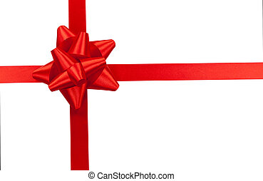 ribbon bow - Big red holiday bow isolated on white...