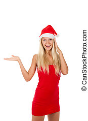 christmas girl - attractive girl wearing red Christmas hat,...