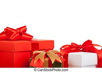 Gift box - Holiday gift box red ribbon bow, close up view
