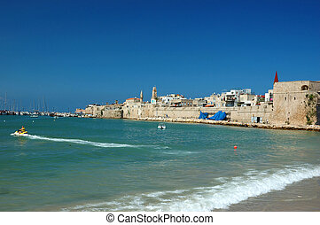 Old Akko beach - famous ancient city of Israel