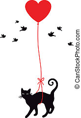 cat with heart balloon - cat with red heart balloon, vector...